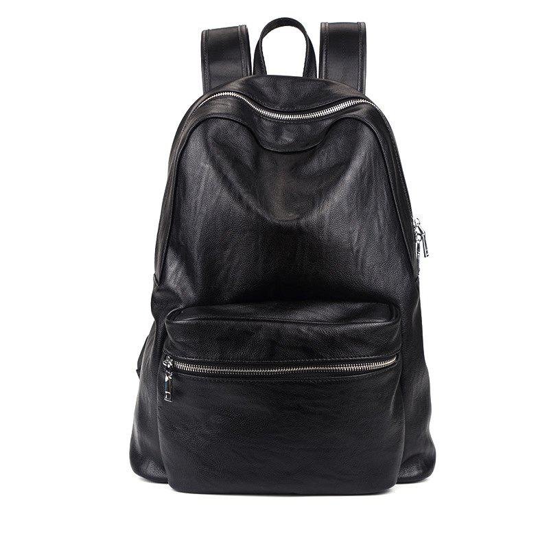 Affordable New Leather Men's Rucksack Bag Korean Fashion Students Backpack Knapsack