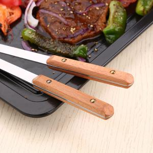 2PCS31CM Steel Wood Handle Barbecue BBQ Tools Outdoor Picnic Steak Knife Serving Fork Kitchen Meat Beef Forks -