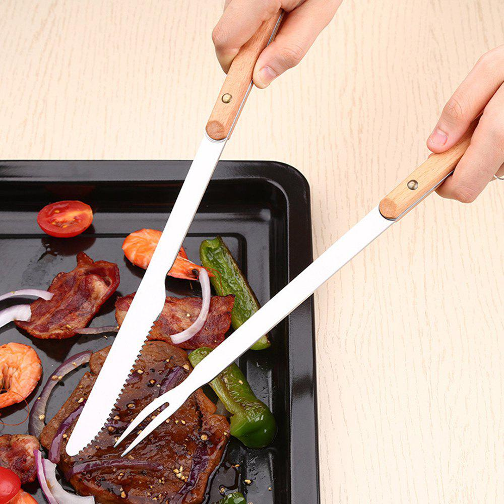 Latest 2PCS31CM Steel Wood Handle Barbecue BBQ Tools Outdoor Picnic Steak Knife Serving Fork Kitchen Meat Beef Forks