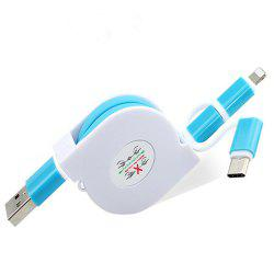 3 in 1 Micro USB Cable Charging Data Sync Retractable Charger Type C Adapter for iPhone / iOS / HTC / Xiaomi / Huawei / Android -