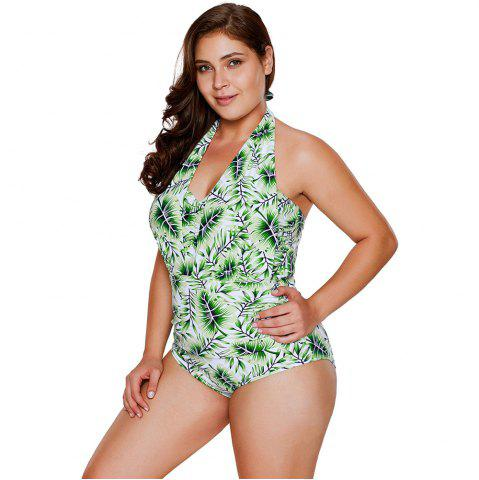 Hot Green Leaf Print Halterneck One Piece Swimsuit