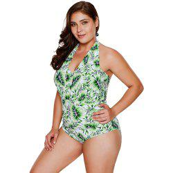 Green Leaf Print Halterneck One Piece Swimsuit -
