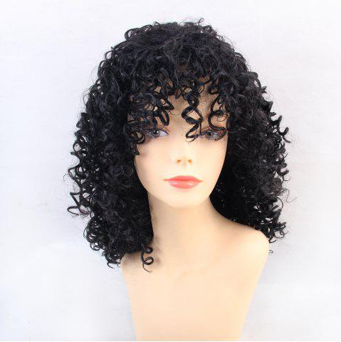 Trendy Wigs for Women Charming Black Medium Long Curly Hair