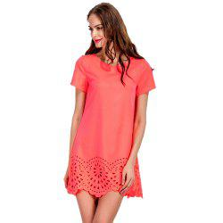Round Collar Fashion A-line Mini Dress -