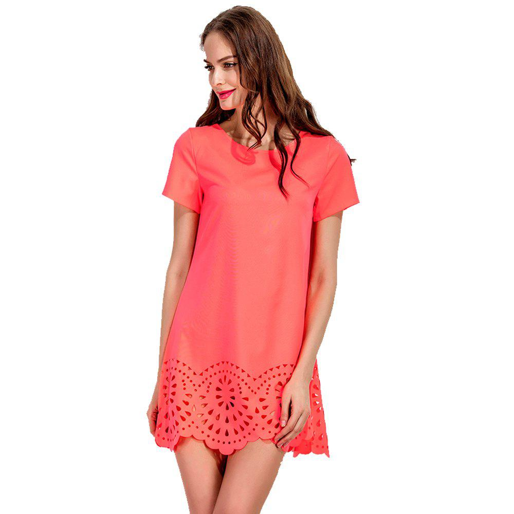 New Round Collar Fashion A-line Mini Dress