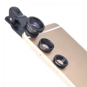 Universal 3 in 1 Wide Angle Macro Fisheye Mobile Phone Lenses Kit with Clip Fish Eye Lens -