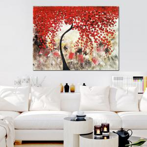 Pure Hand Painted Abstract Impasto Palette Knife Red Flower Tree Canvas Oil Painting Living Room Bedroom Home Wall Decor -