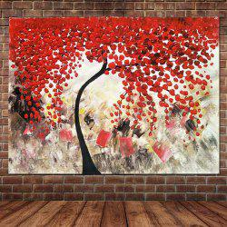 Pure Hand Painted Abstract Impasto Palette Knife Red Flower Tree Холст Картина маслом Гостиная Спальня Home Wall Decor -