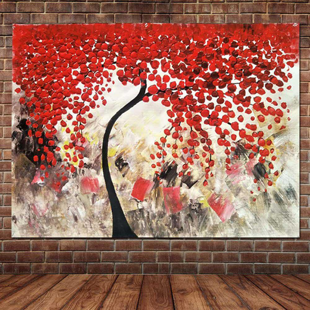Pure Hand Painted Abstract Impasto Palette Knife Red Flower Tree Холст Картина маслом Гостиная Спальня Home Wall Decor