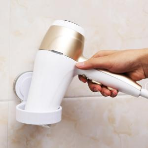 Bathroom Single Hole Suction Cup Hair Dryer Storage Rack Wall-Free Nail-Free -