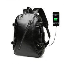 High Quality Practical PU Leather Men Backpack with Headphone Port -