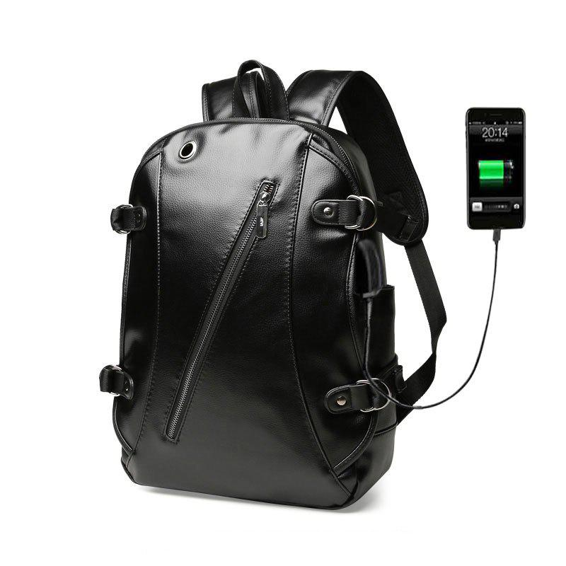 Hot High Quality Practical PU Leather Men Backpack with Headphone Port