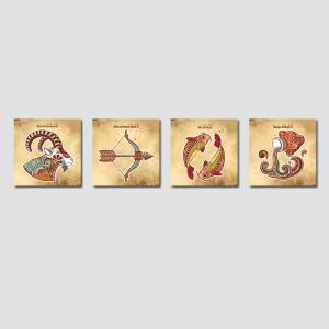 QiaoJiaHuaYuan No Frame Canvas Living Room Sofa Background Four Pieces of Static Sign art Украшение Висячие картинки -