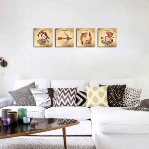 QiaoJiaHuaYuan No Frame Canvas Living Room Sofa Background Four Pieces of Static Sign art Decoration Hanging Picture -