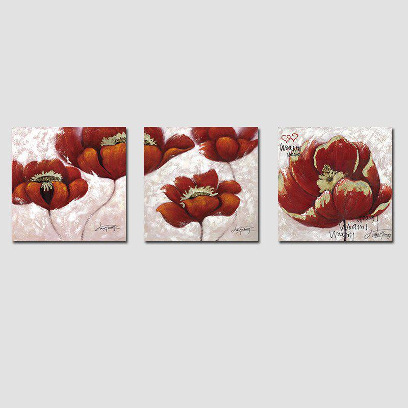 Outfits QiaoJiaHuaYuan No Frame Canvas Living Room Sofa Background Three Sets of Red Flowers
