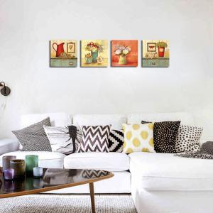 QiaoJiaHuaYuan No Frame Canvas Living room Sofa Background Four Pieces of Garden Landscape Decoration Hanging Pictures -