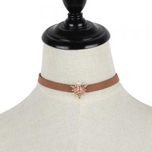 Brown Korean Choker Necklace Collar Creative Section Diamond Star Short Women Clavicle Chain -