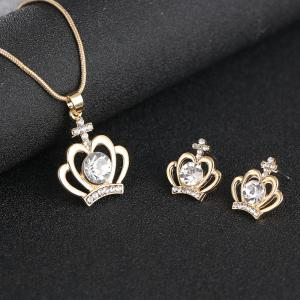 Simple Classic Crown Rhinestone Pendant Necklace Set -