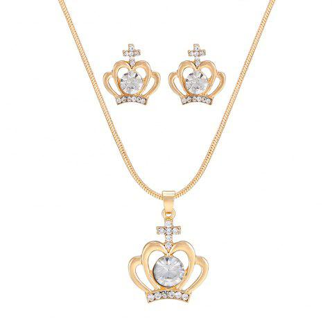 Hot Simple Classic Crown Rhinestone Pendant Necklace Set