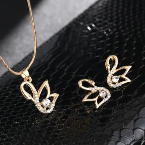 Simple Hollow Alloy Texture Rhinestone Necklace Set -