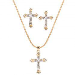Cross Pendant Rhinestone Necklace Set -
