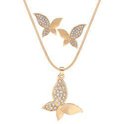 Ensemble de collier de papillon frais strass -