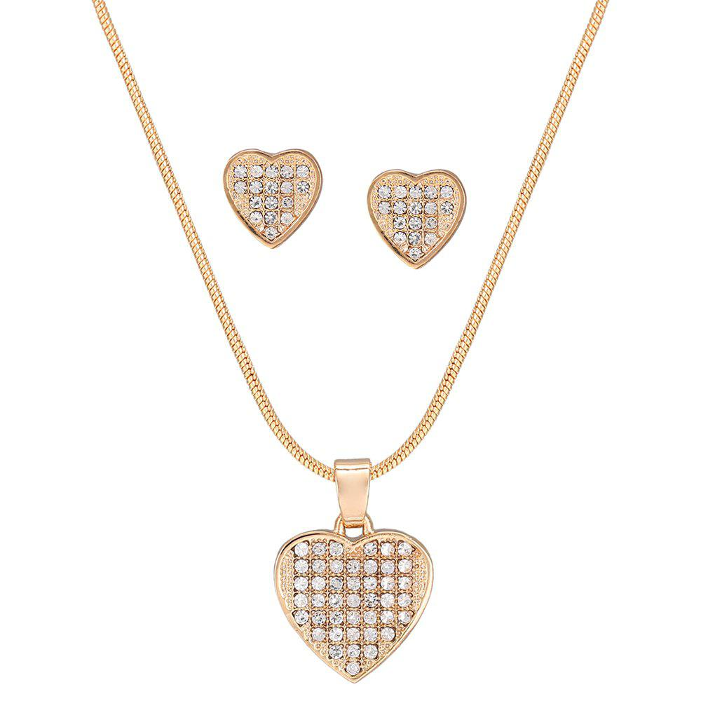 Best Heart-shaped Hollow Rhinestone Necklace Set