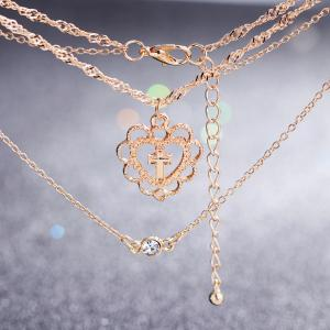 Multilayer Cross Heart Rhinestone Pendant Necklace Set -