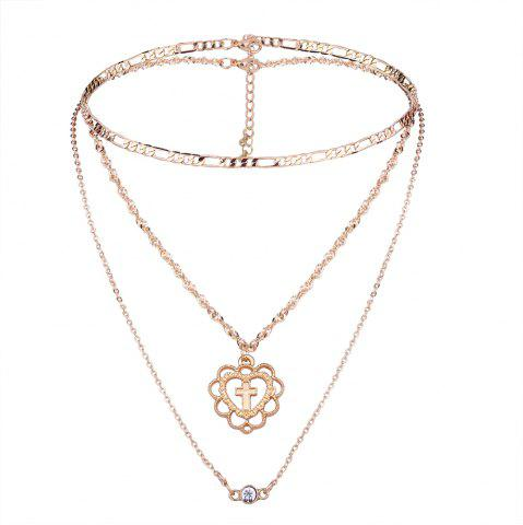 Trendy Multilayer Cross Heart Rhinestone Pendant Necklace Set