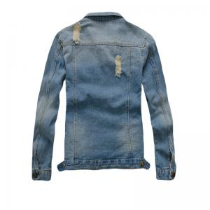 Men's Denim  Stylish Casual Washed Long Sleeve Jacket -