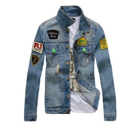 Outfits Men's Denim  Stylish Casual Washed Long Sleeve Jacket