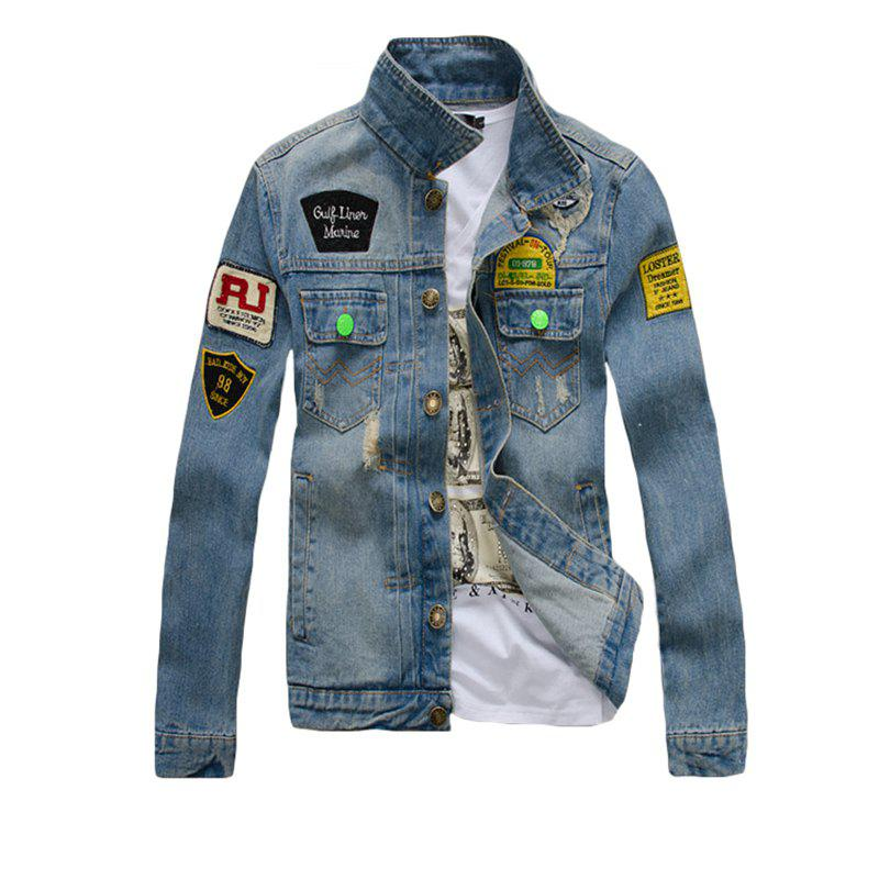 Shops Men's Denim  Stylish Casual Washed Long Sleeve Jacket