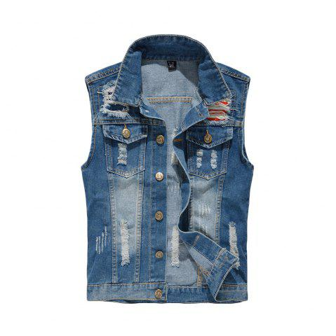 Chic Men's Denim  Fashion Style Hole Design Washed  Frayed Vest