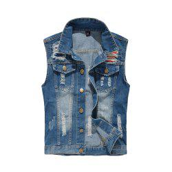 Men's Denim  Fashion Style Hole Design Washed  Frayed Vest -