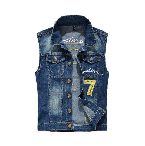 Store Men's  Fashion Embroidery Patchwork Frayed Denim Vest Outwear
