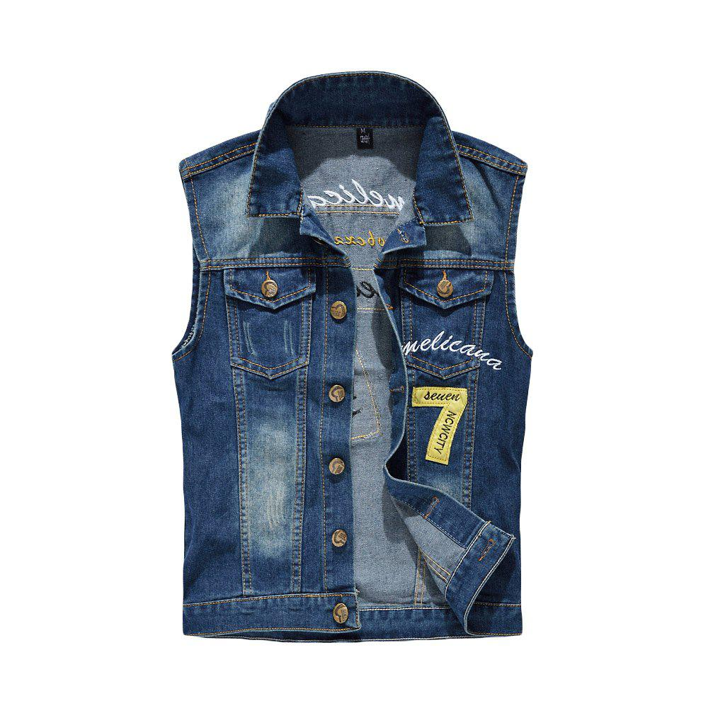 Chic Men's  Fashion Embroidery Patchwork Frayed Denim Vest Outwear
