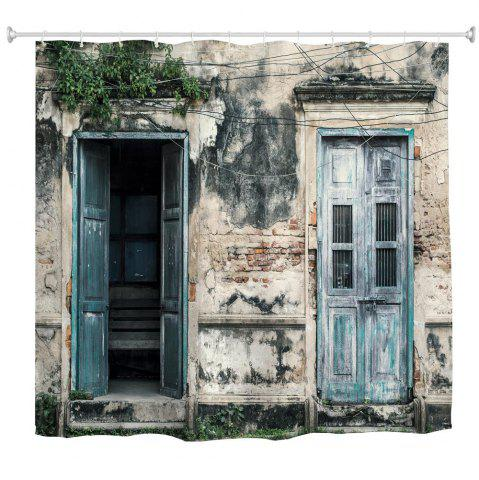 Outfits Nostalgic Wooden Door Polyester Shower Curtain Bathroom  High Definition 3D Printing Water-Proof