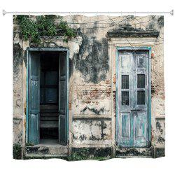 Nostalgic Wooden Door Polyester Shower Curtain Bathroom  High Definition 3D Printing Water-Proof -