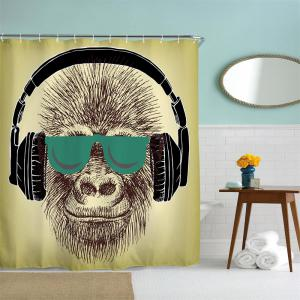 Headset Gorilla Polyester Shower Curtain Bathroom  High Definition 3D Printing Water-Proof -