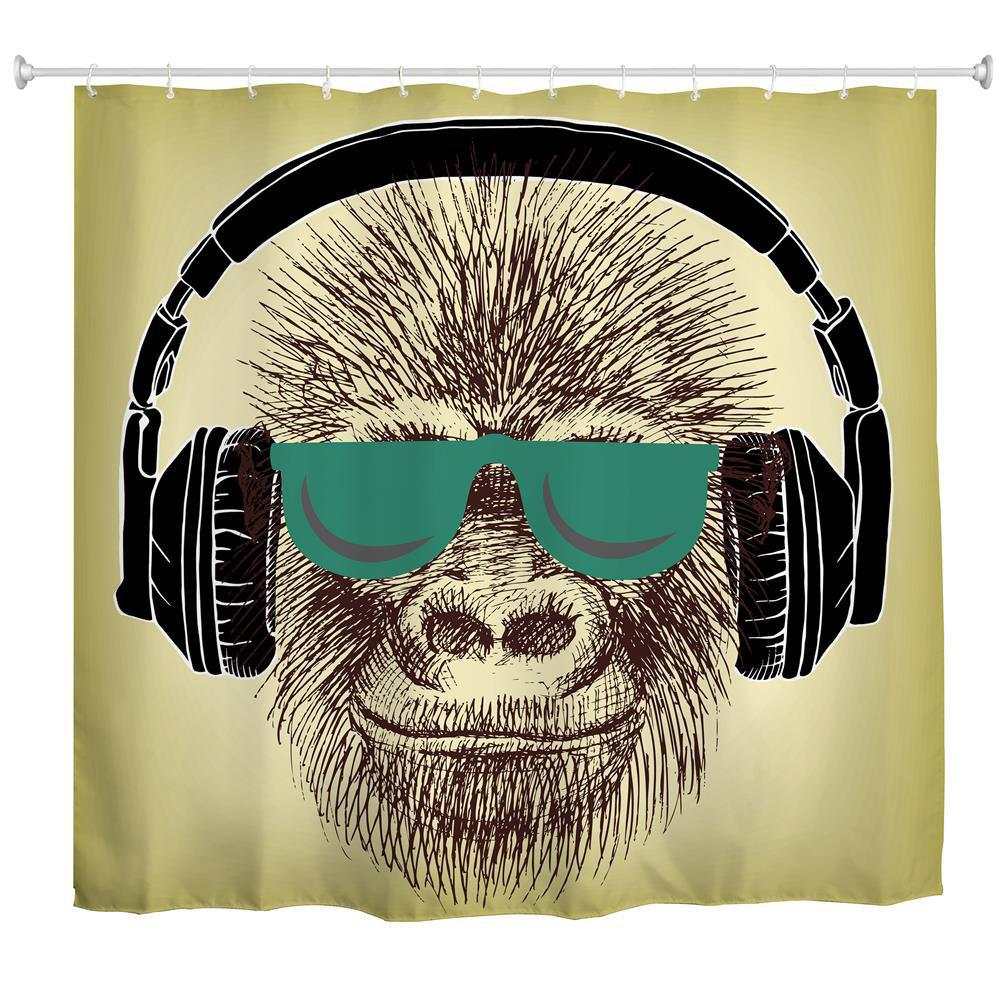 Best Headset Gorilla Polyester Shower Curtain Bathroom  High Definition 3D Printing Water-Proof