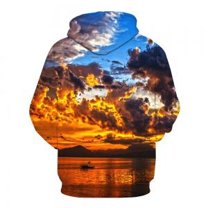 3D Digital Colorful Cloud Printed Hoodie -