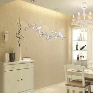 TV Backdrop Creative Crystal 3D Stereo Branch Bird Mirror Wall Stickers -