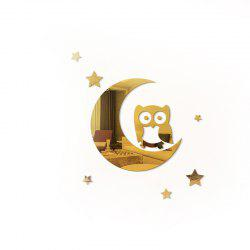 Wall Sticker Children Room Solid Glass Mirror Crescent Owl Kindergarten -
