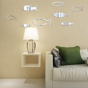 Underwater World Fish Mirror Pasted Bathroom Parlor Bedroom Decoration 3D Wall Stickers -