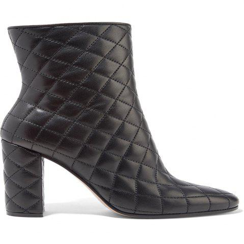 Shops 2018 New Black Rough Heel Plaid Simple Ladies Boots