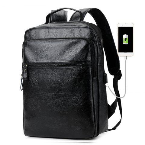 Best Men PU Leather Laptop Waterproof Casual Travel Large Capacity School Backpack with USB
