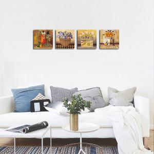QiaoJiaHuaYuan Frameless Canvas Sitting Room Sofa Quadruple Picture Background Flowers Print -