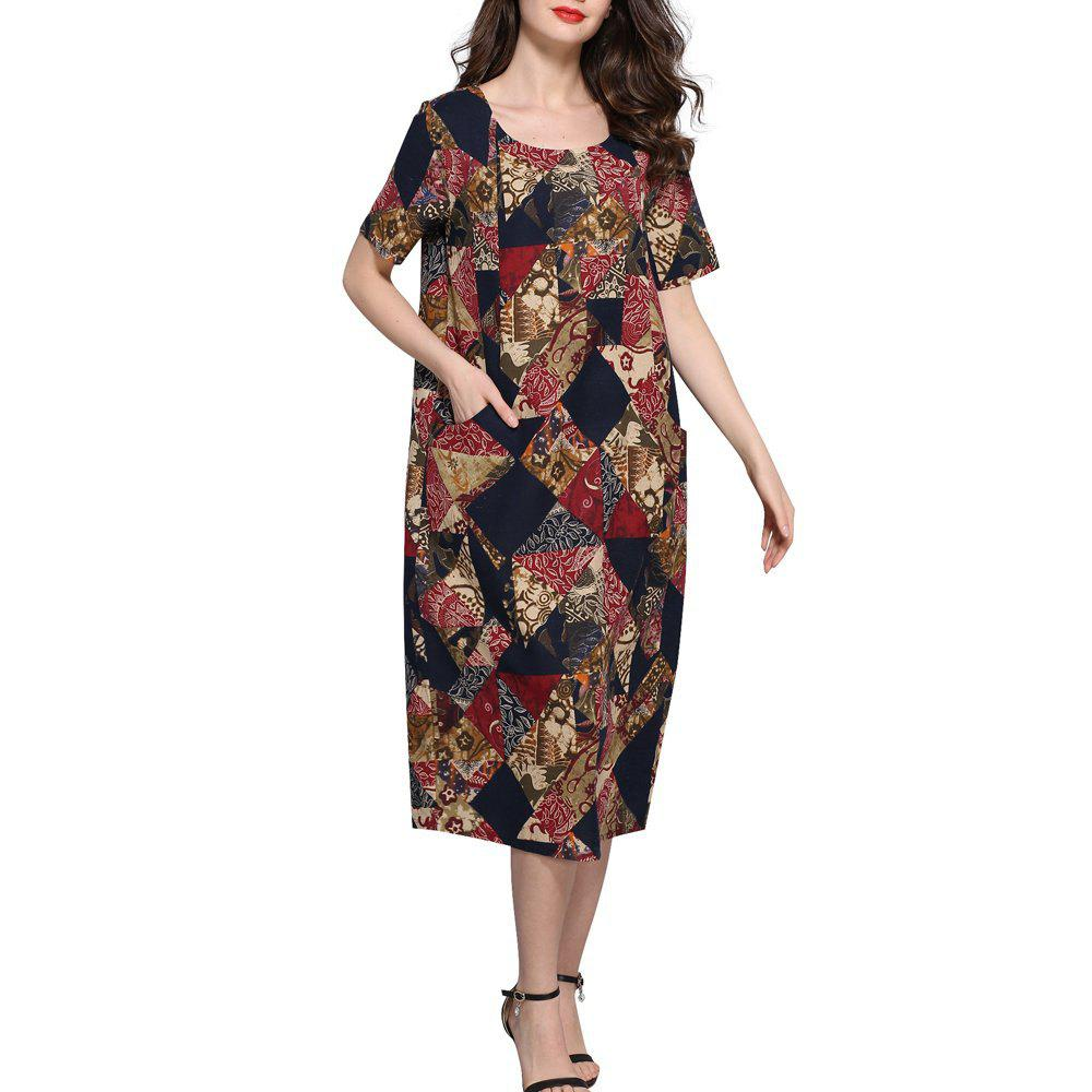 Outfit Casual Print Cotton Midi Dress For Women Bohemian Pocket