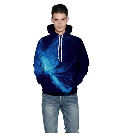 Trendy New Blue Star Digital Printed Hoodie