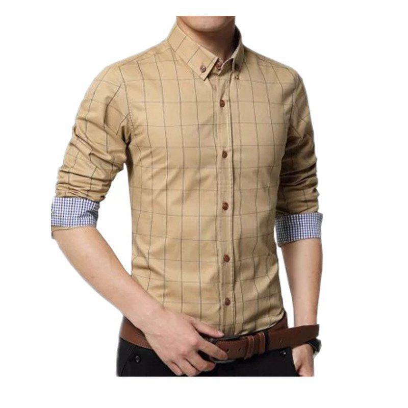 Trendy New Men's New Fashion Plaid Business Long Sleeve Shirt